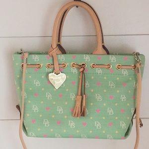 Dooney & Bourke Green Hearts Tassel Satchel